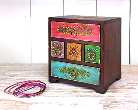 Present Company Bohemian Jewellery Chest Hand Painted Colourful Floral  Design Five Drawers for Bits & Bobs - Fair Trade