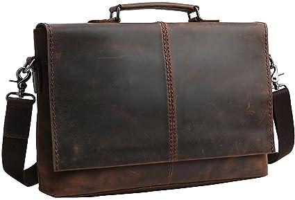 "d89d3b9dc612 Iswee Men Leather Messenger Bag 14"" Laptop Briefcase Business Bag Work  Satchel (Dark Brown"