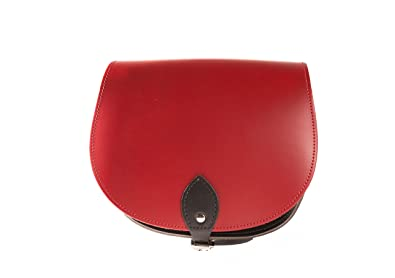 a6819e144073d Rot und Schwarz Zwei Farbe   Dual   Kontrast   Echtes Leder Sattel  Crossbody Handtasche mit
