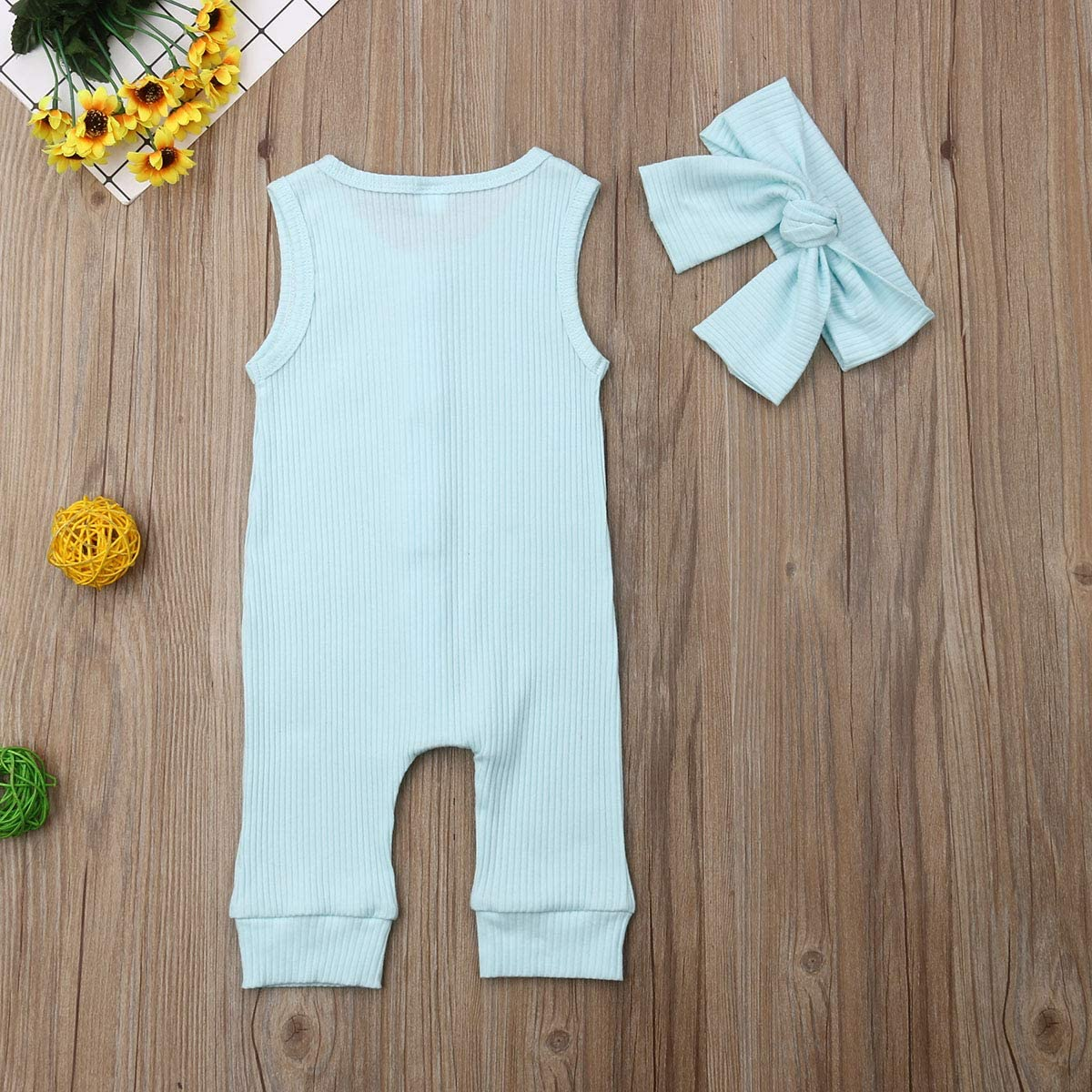 Baby Girl Boy Romper Bodysuit Solid Plain One Piece Jumpsuits Pajamas Sleeveless One Piece Baby Clothes Outfits Summer