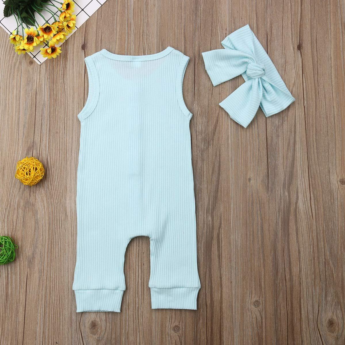 WangsCanis Neugeborenes Unisex Baby Body M/ädchen Junge in Unifarben /Ärmellos Bodysuit Spielanzug Overall mit Stirnband 2tlg Kleidungs Sets
