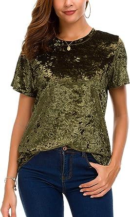 Urban GoCo Mujeres Camisa Cuello Redondo Terciopelo Tops Manga Corta Camiseta (X-Large, Ejército Verde): Amazon.es: Ropa y accesorios