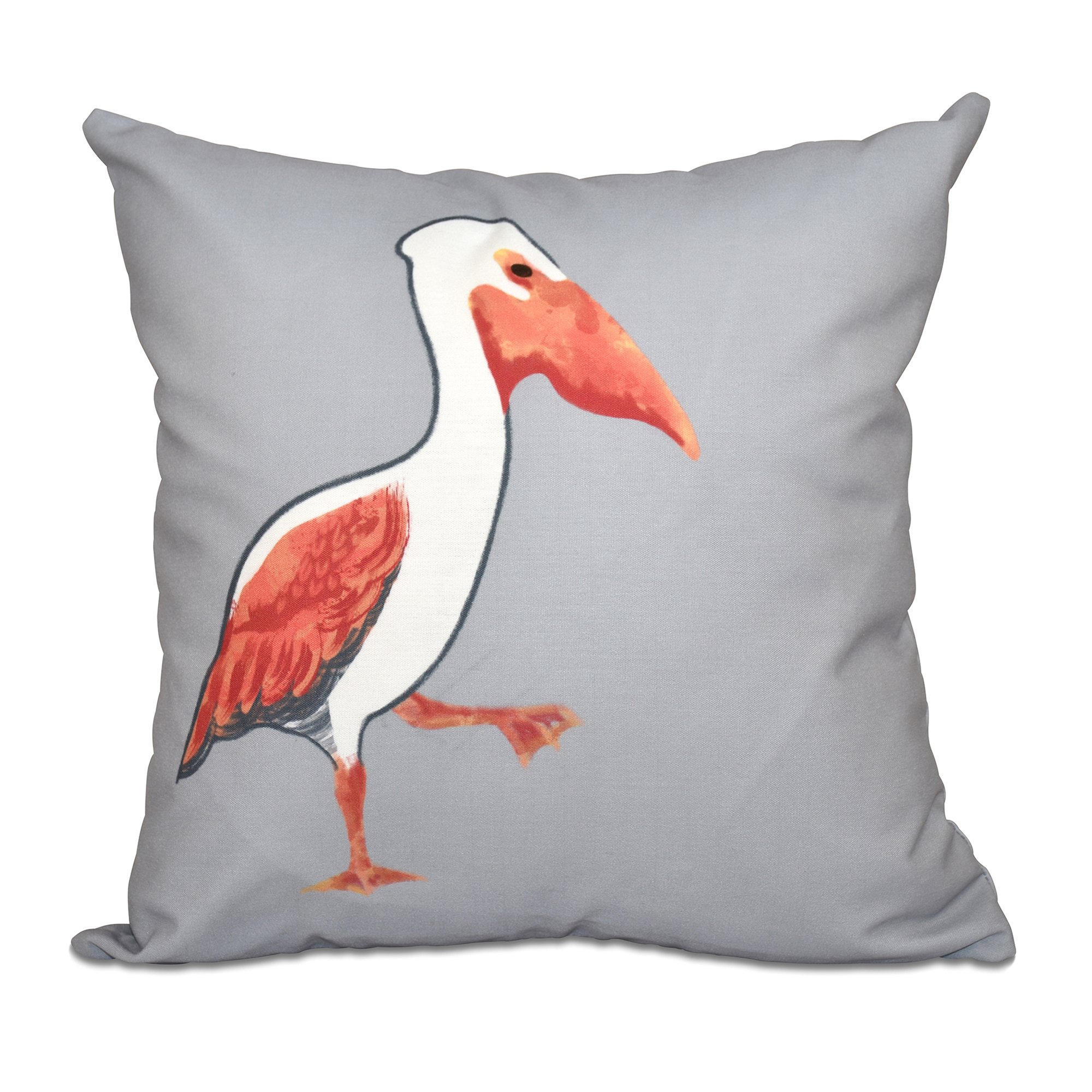 E by design 16 x 16 inch, Pelican March, Animal Print Pillow, Gray