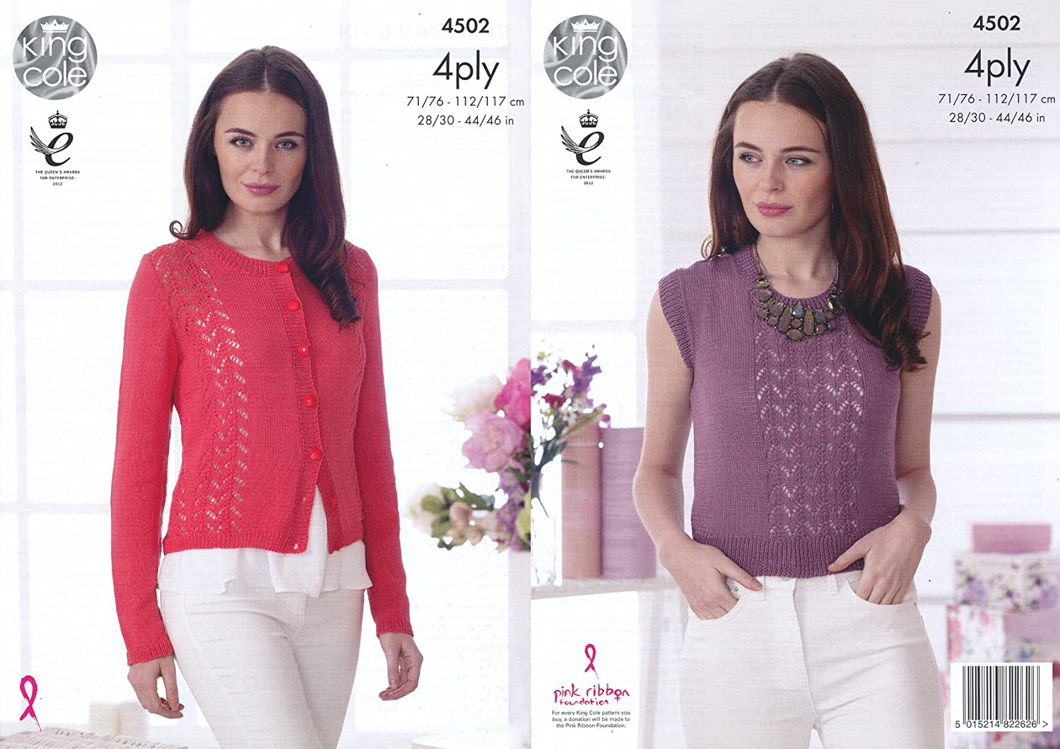 King Cole Ladies 4 Ply Knitting Pattern Womens Lace Effect