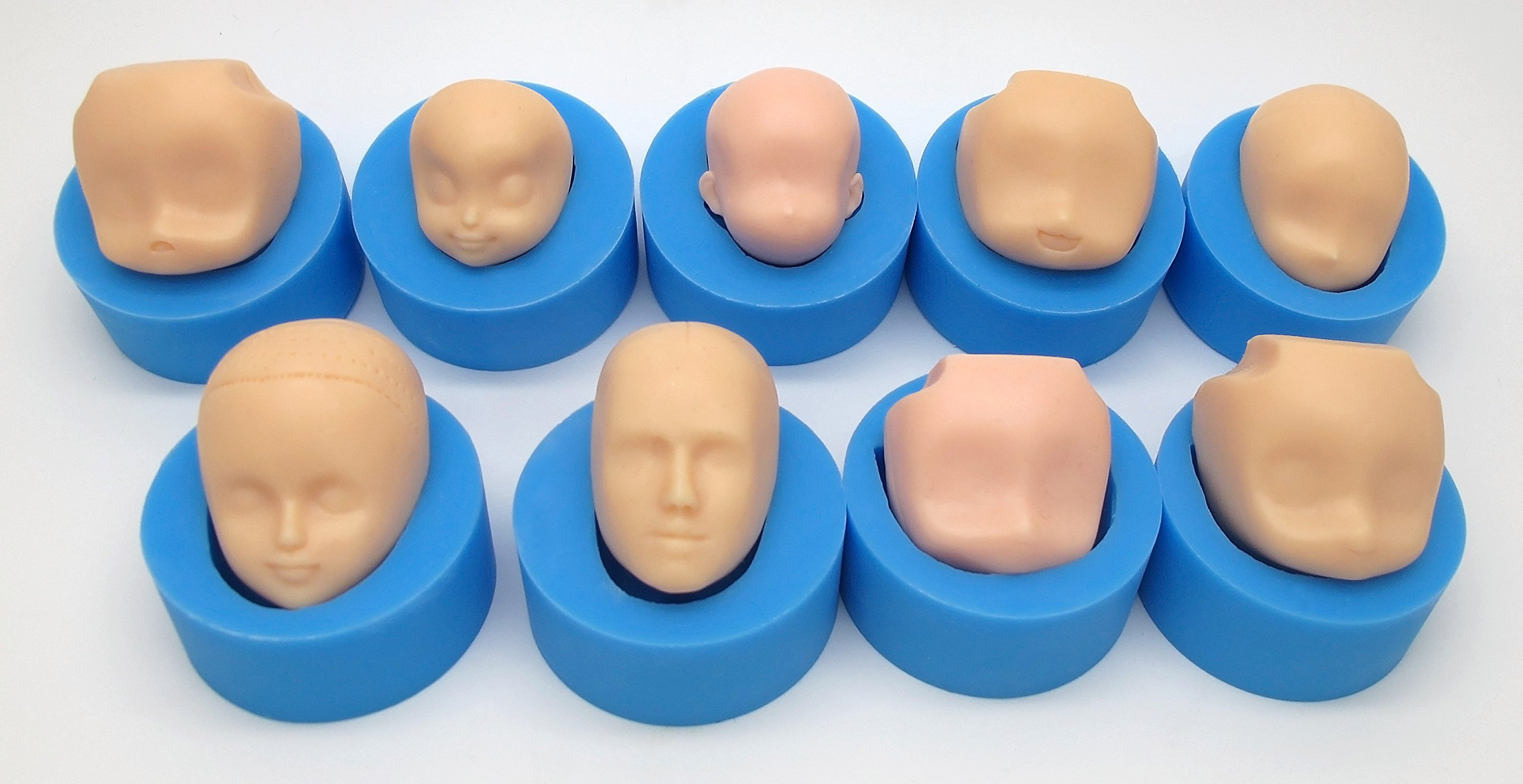 mofa 9 PCS of Set Human Face Shaped 3D Silicone Cake Fondant Mold, Cake Decoration Tools, Soap, Candle Moulds,Fondant, Polymer Clay, Soap Making, Crafting Projects (Large Size) by mofa (Image #1)