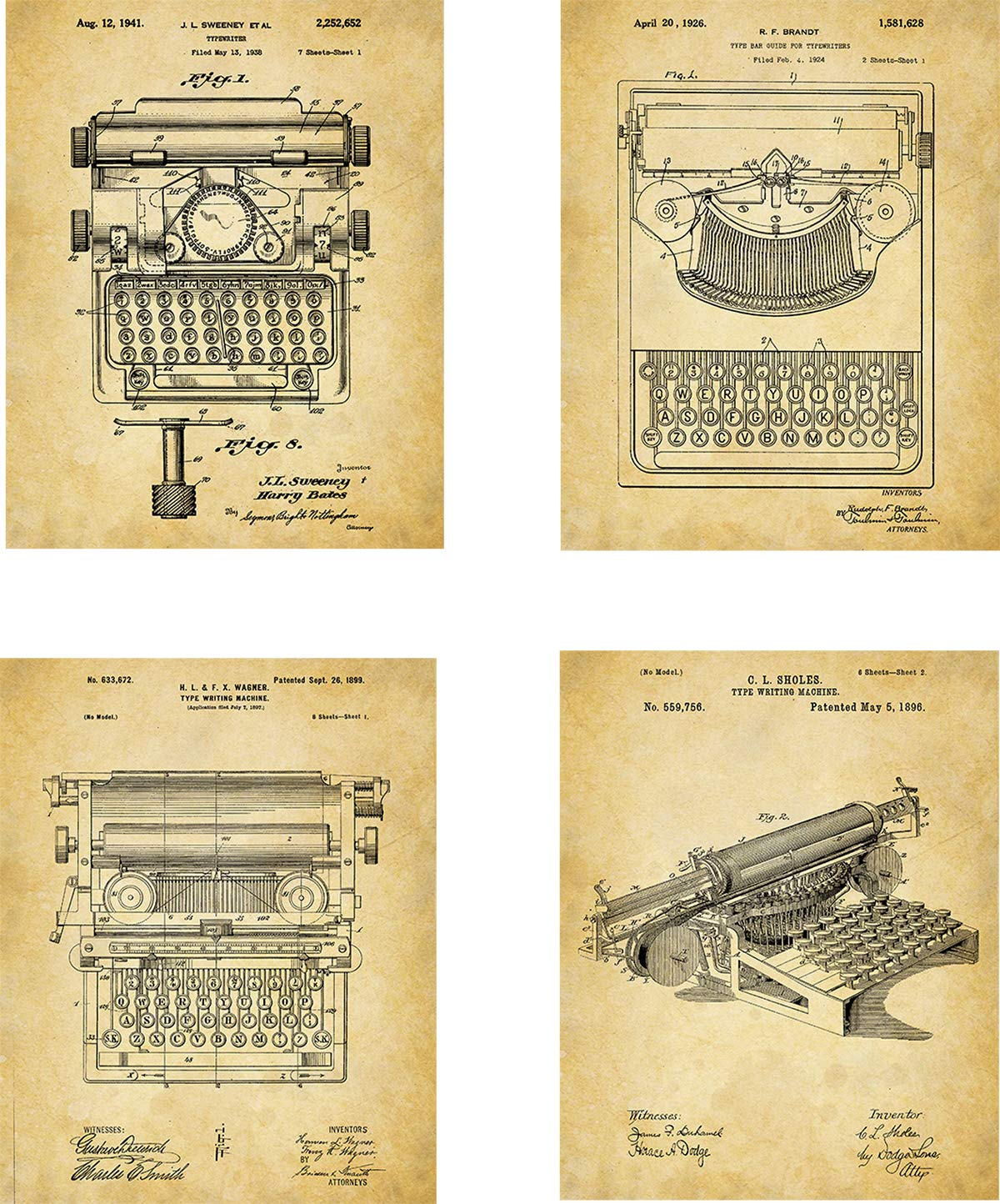 Typewriter Patent Wall Art Prints - set of Four (8x10) Unframed - wall art decor for office workers