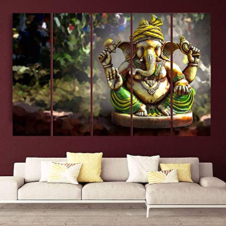 Rajo Big Size Multiple Frames Beautiful 3d Ganesha Wall Painting For Living Room Bedroom Office Drawing Room Wooden Framed Digital Painting Canvas 44 X 24 Inch Multicolored Pack Of 5 Pieces Amazon In Electronics