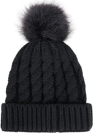 Knit beanie hat women Winter beanie hat Pom pom beanie Winter beanie women Knit wool hat pom pom Ski beanie hat Skull beanie stretch XS-L