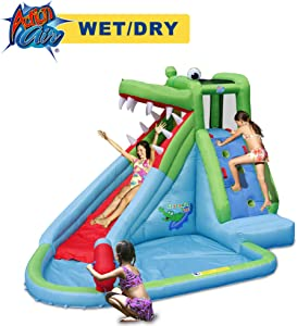 ACTION AIR Inflatable Waterslide, Crocodile Bounce House with Blower for Wet and Dry, Inflatable Water Pool with Splash and Slide, Idea for Kids, Extra Thick Material and Double Sewn Seam (9240)
