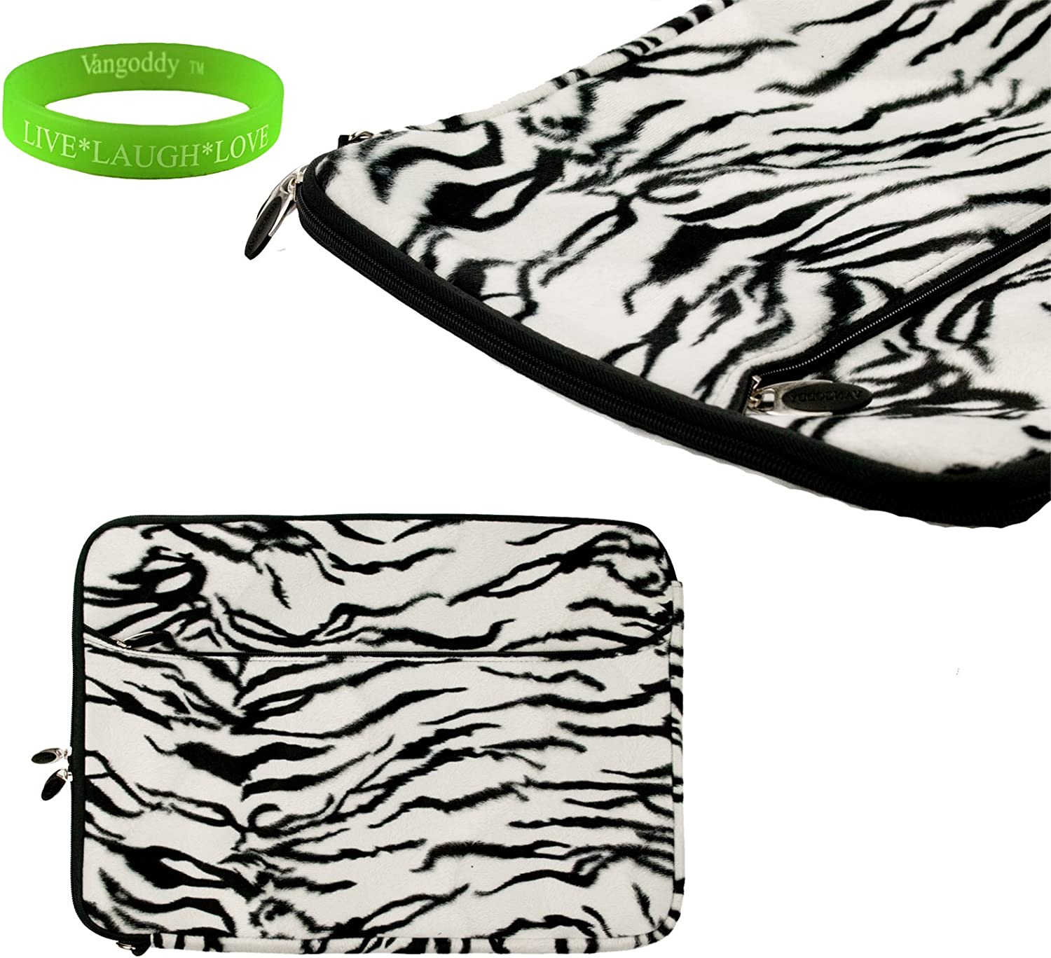 Travel friendly Vintage Black and White Zebra13 inch Faux Fur Laptop Sleeve to fit your Lenovo Yoga Ultrabook. Exterior is lined with Soft Micro suede and a concealed thick nylon flap to keep your device in place + Vangoddy Live Laugh Love Bracelet
