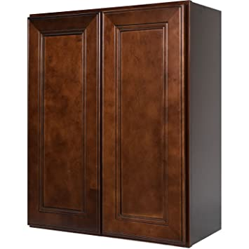 everyday cabinets 27 inch double door wall cabinet in leo saddle dark cherry wood