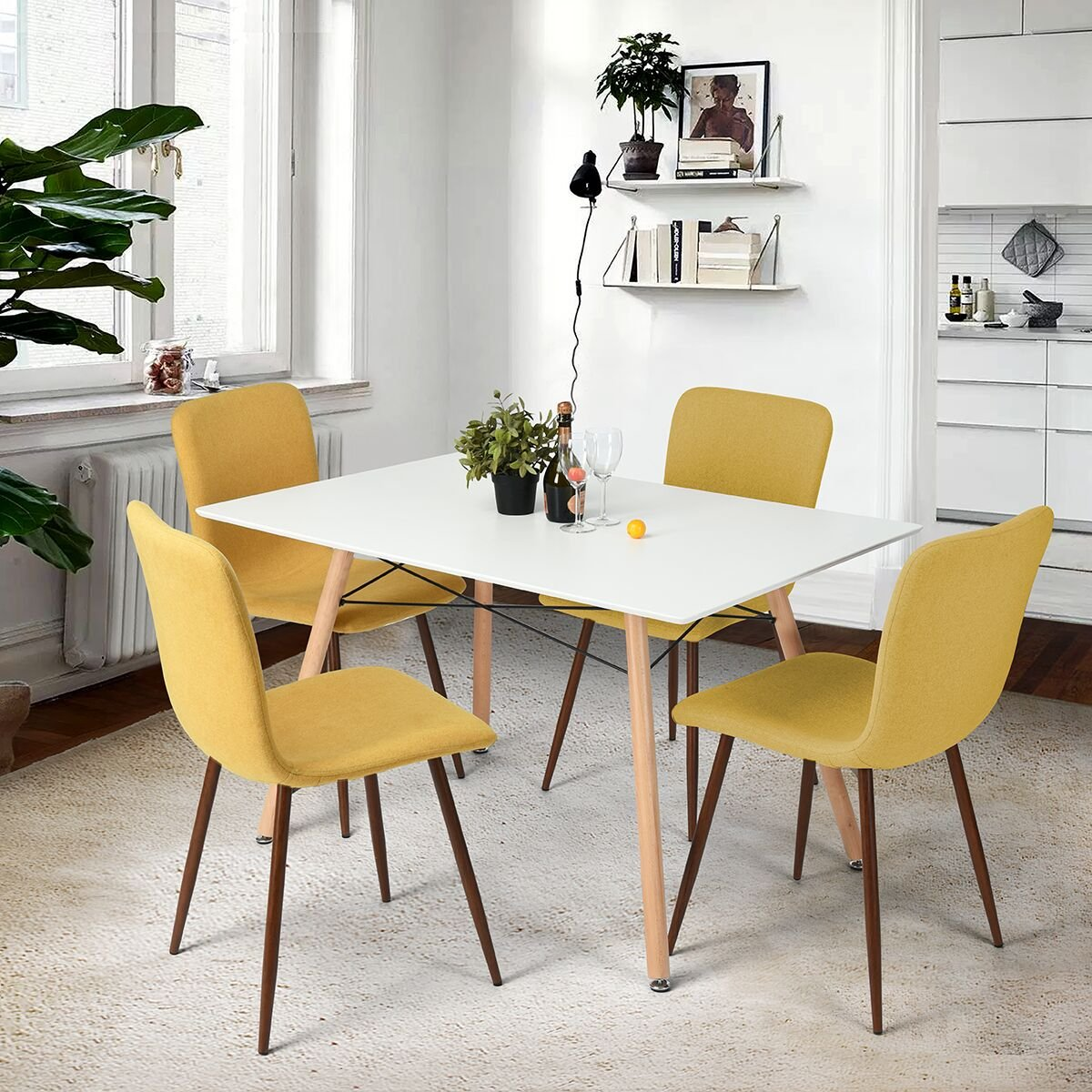 Coavas Set of 4 Dining Chairs Fabric Cushion Kitchen Side Chairs with Sturdy Metal Legs for Dining Room, Yellow by Coavas (Image #6)