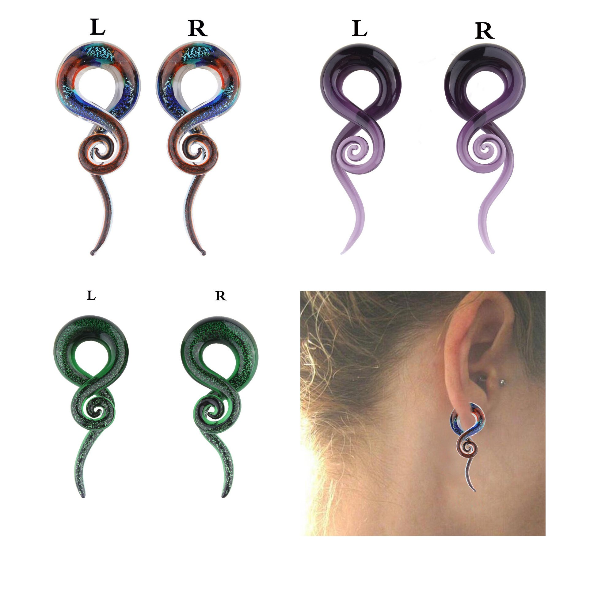3 Pairs Glass Ear Spiral Taper Plugs Ear Expander Ear Piercing Tunnel Plugs Gauges (10mm=00G)