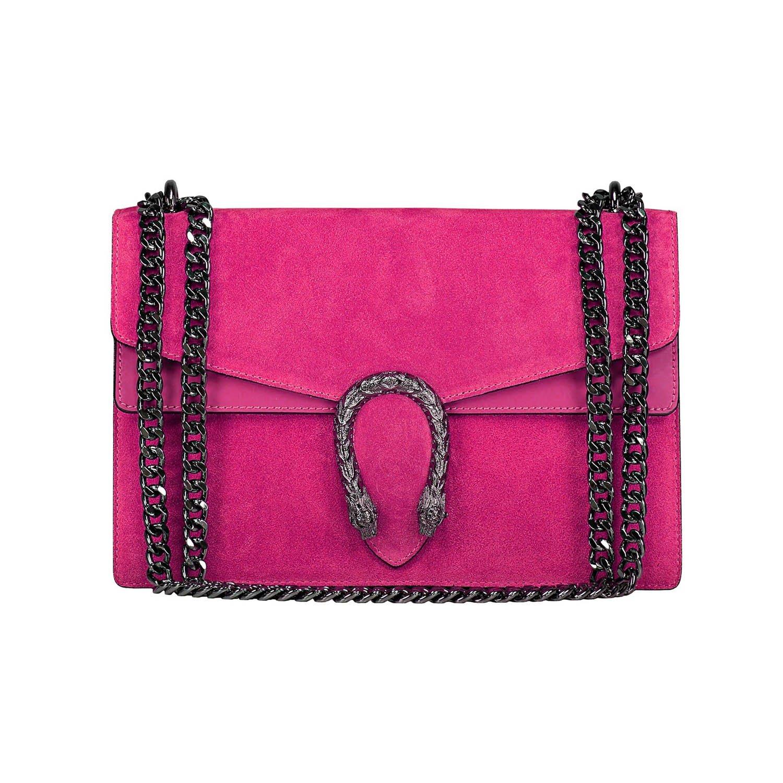 #MYITALIANBAG RACHEL Umhängetasche Handtasche mit Kette und Schließen von Zubehör metallischen dunklem Nickel, Glatteleder und Wildleder, Hergestellt in Italien 71045