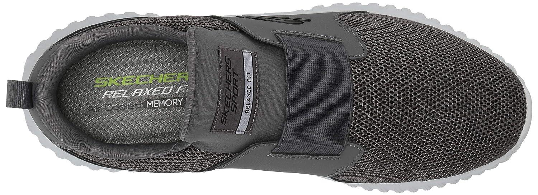 Skechers Herren Depth Charge 2.0 Slip On Sneaker Grau (Charcoal Mesh/Pu/Trim Char)