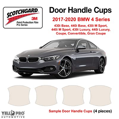 YelloPro Custom Fit Door Handle Cup 3M Scotchgard Anti Scratch Clear Bra Paint Protector Film Self Healing for 2020 2020 2020 2020 BMW 4 Series 430i 440i Base M Sport Luxury Coupe Convertible Gran: Automotive
