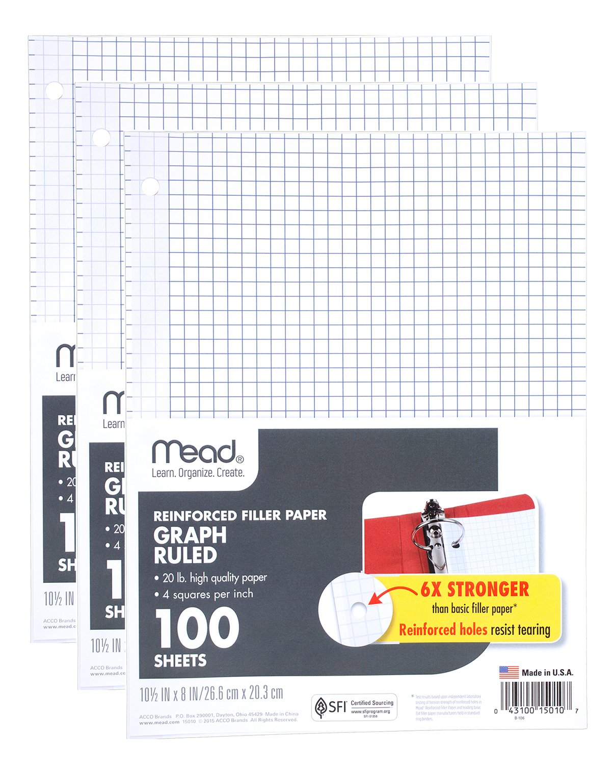 Mead Filler Paper, Loose Leaf Paper, Graph Ruled Paper, Q4, 100 Sheets, 10-1/2'' x 8'', Reinforced, White, 3 Pack (38040) by Mead (Image #1)