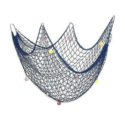 Amazon Com Decorative Fish Net Blue Yagote Mediterranean Style