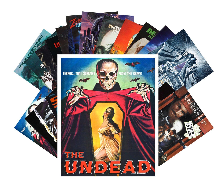 Postcard Set 24 Cards Zombien Skeletons Undead Vintage Horror Movie Poster
