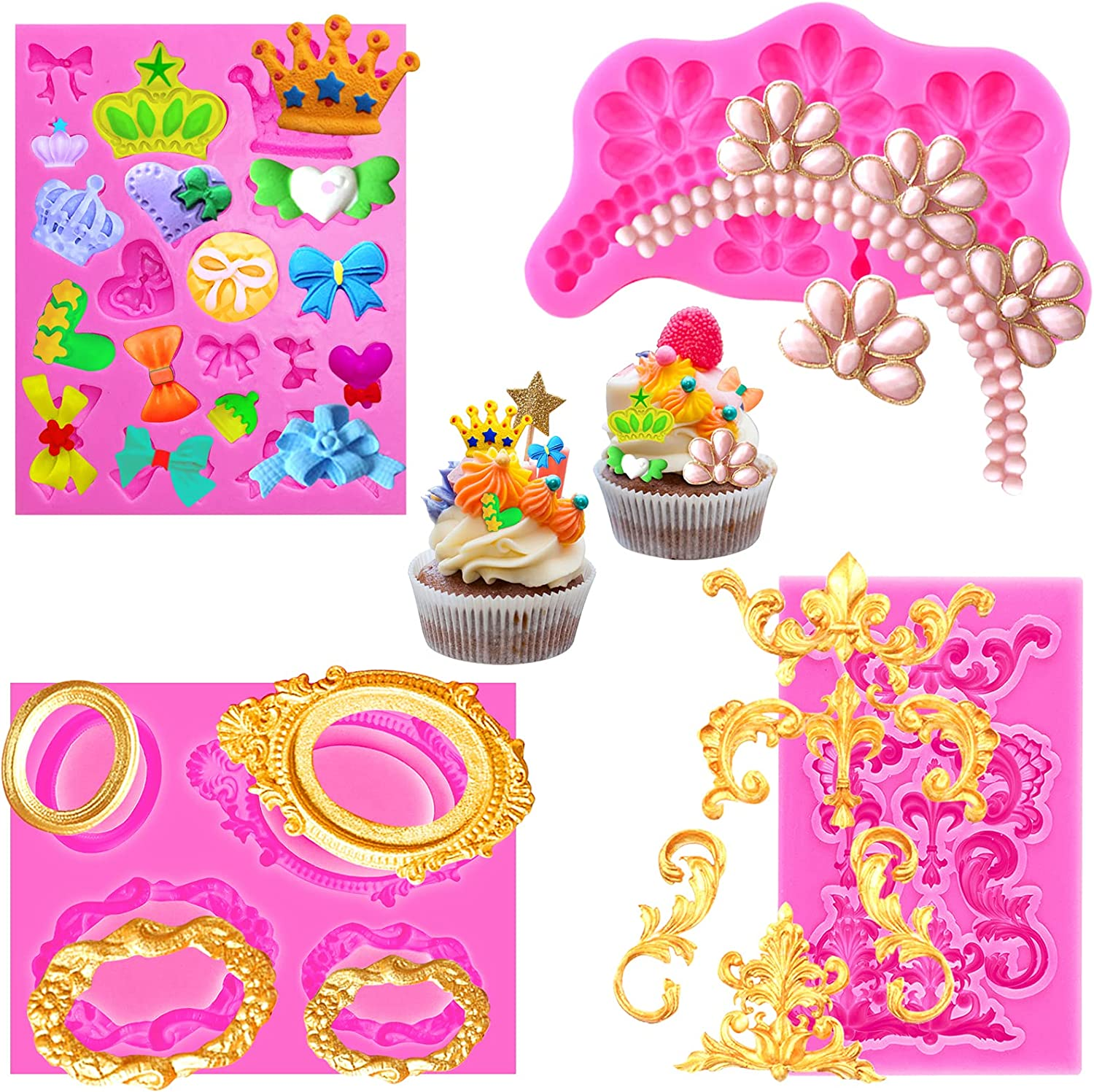 Baroque Chocolate Fondant Mold for Cake Pop Lollipop Cupcake Topper Decor, 4pack Royal Lace Scroll Relief Crown Picture Frames Big Jewels & Pearls Crown Mini Bows Silicone Molds for Cake, Polymer Clay