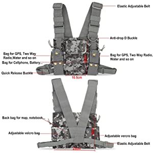 abcGoodefg Radio Chest Harness Chest Front Pack Pouch Holster Vest Rig for Two Way Radio Walkie Talkie Camouflage (Rescue Essentials) (Color: Camouflage)