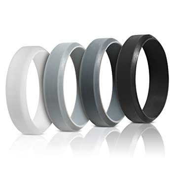 saco band silicone rings for men 4 pack beveled rubber wedding bands black - Wedding Rings Men