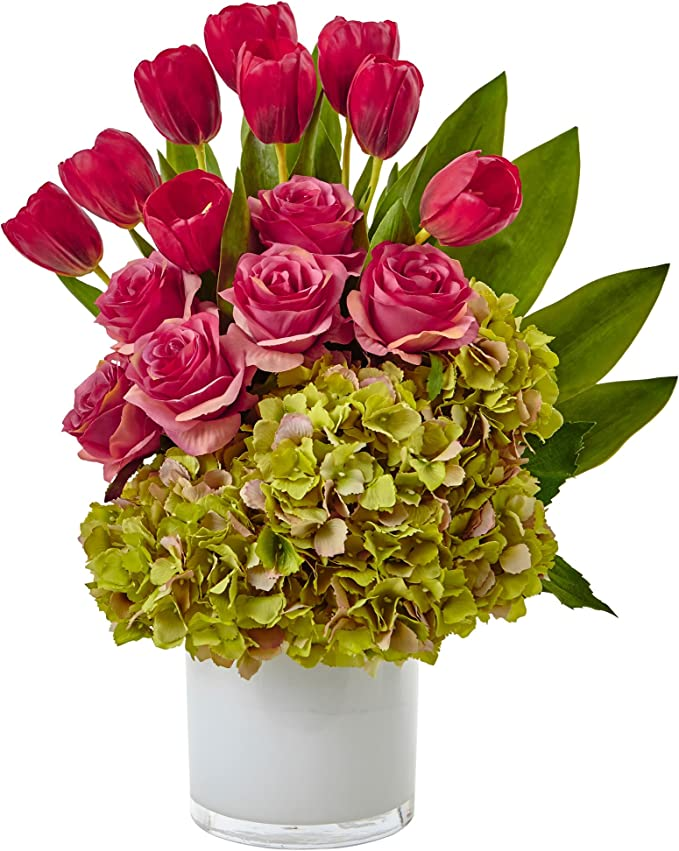 Casi Natural Tulipanes, Rosas y hortensias de Seda arreglo, Rosa ...