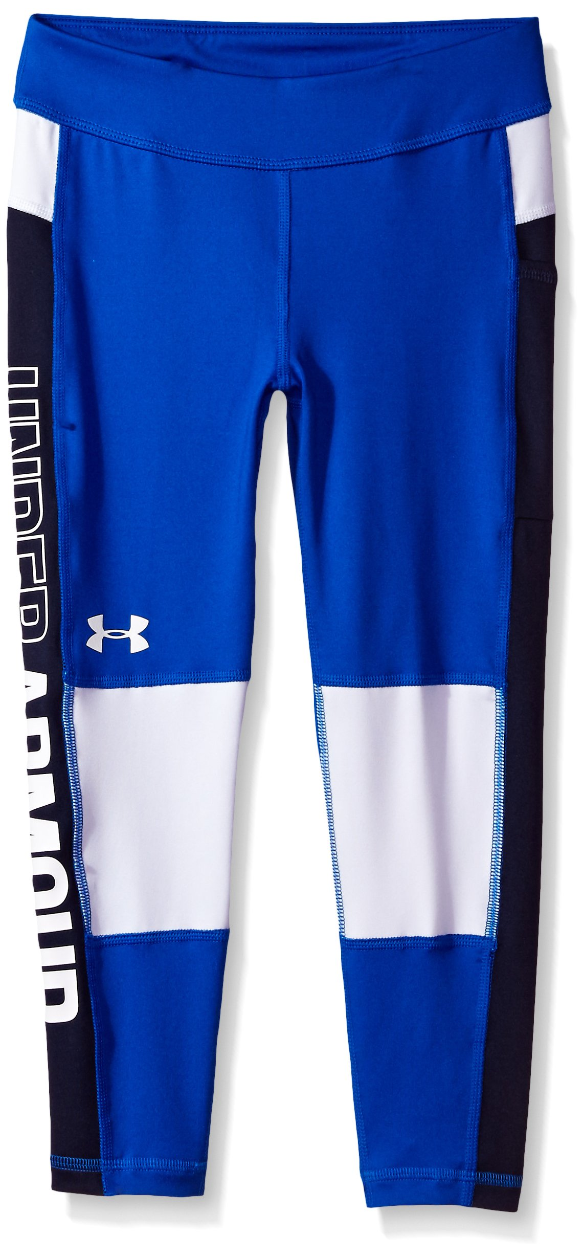 Under Armour Girls' Color Block Crop Capris,Lapis