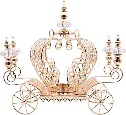 JOICE GIFT Crystal Studded Bling Pumpkin Carriage Candle Holder Centerpiece 21 inch Large Gold