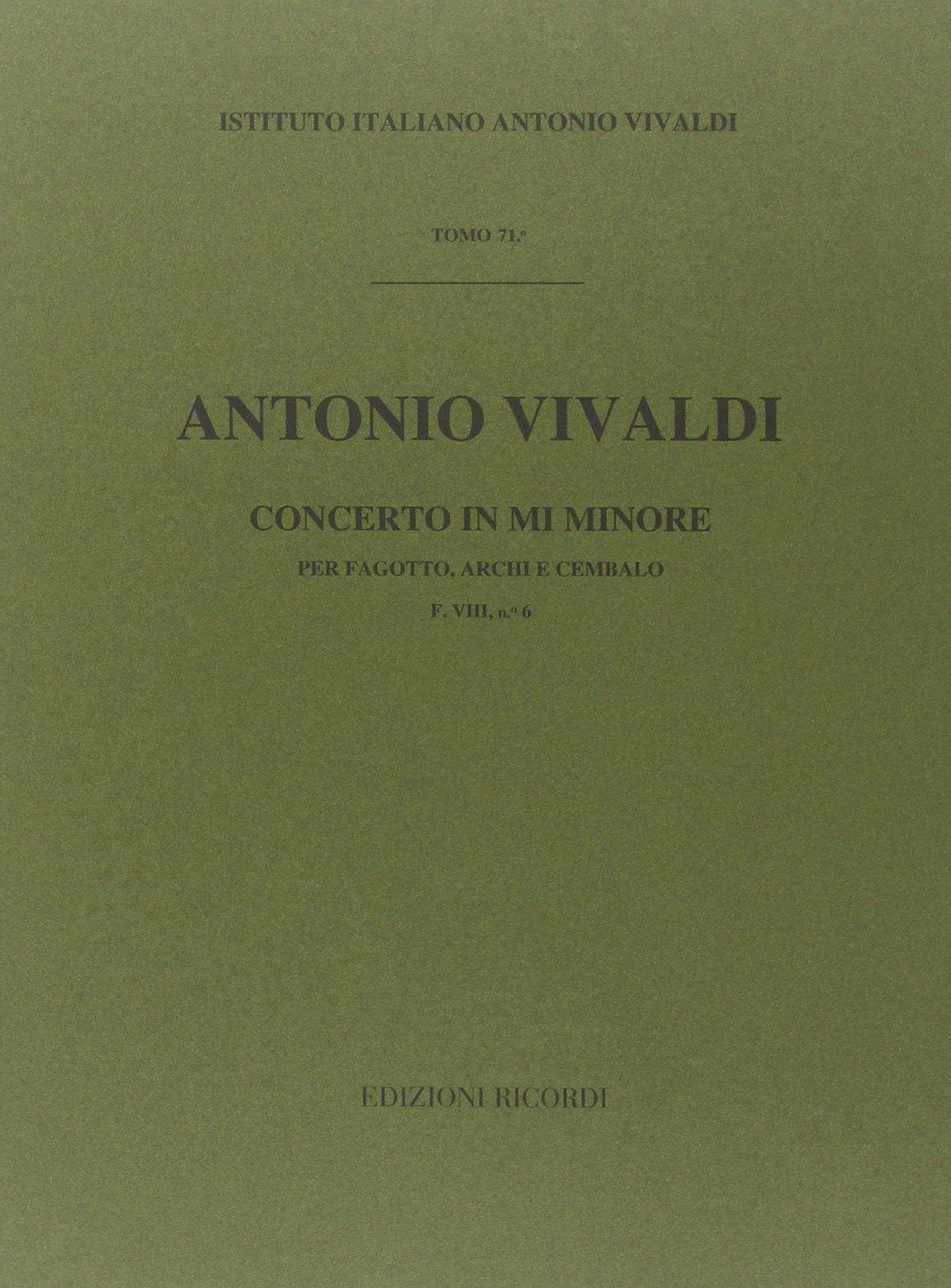 Concerto in mi minore Broché – 1 janvier 1970 Antonio Vivaldi Ricordi 0041903587 Musique