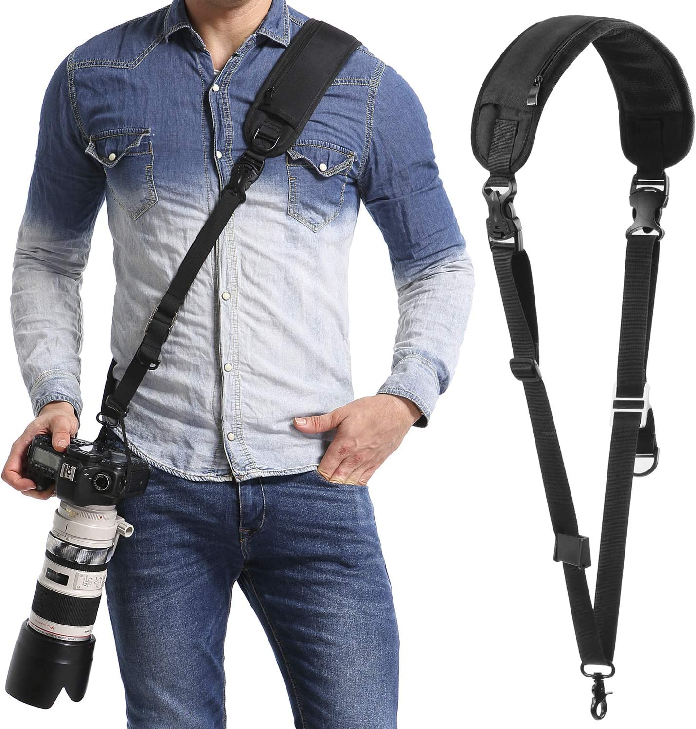 Camera Strap with Safety Tether Mounting Plate Anti-Slip Over Shoulder Camera Sling Strap Quick Release with Safety Tether,for DSLR SLR Camera Canon Nikon Sony Olympus Pentax, etc.