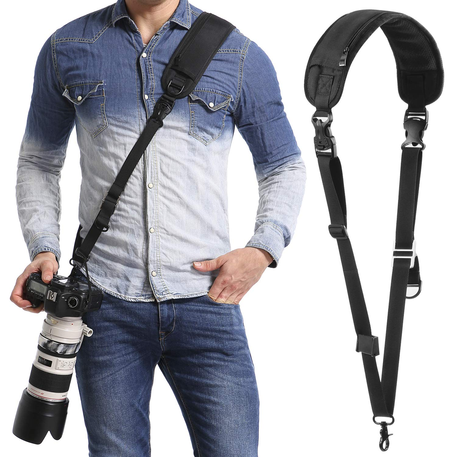 waka Camera Neck Strap with Quick Release and Safety Tether, Adjustable Camera Shoulder Sling Strap for Nikon Canon Sony Olympus DSLR Camera - Black by waka