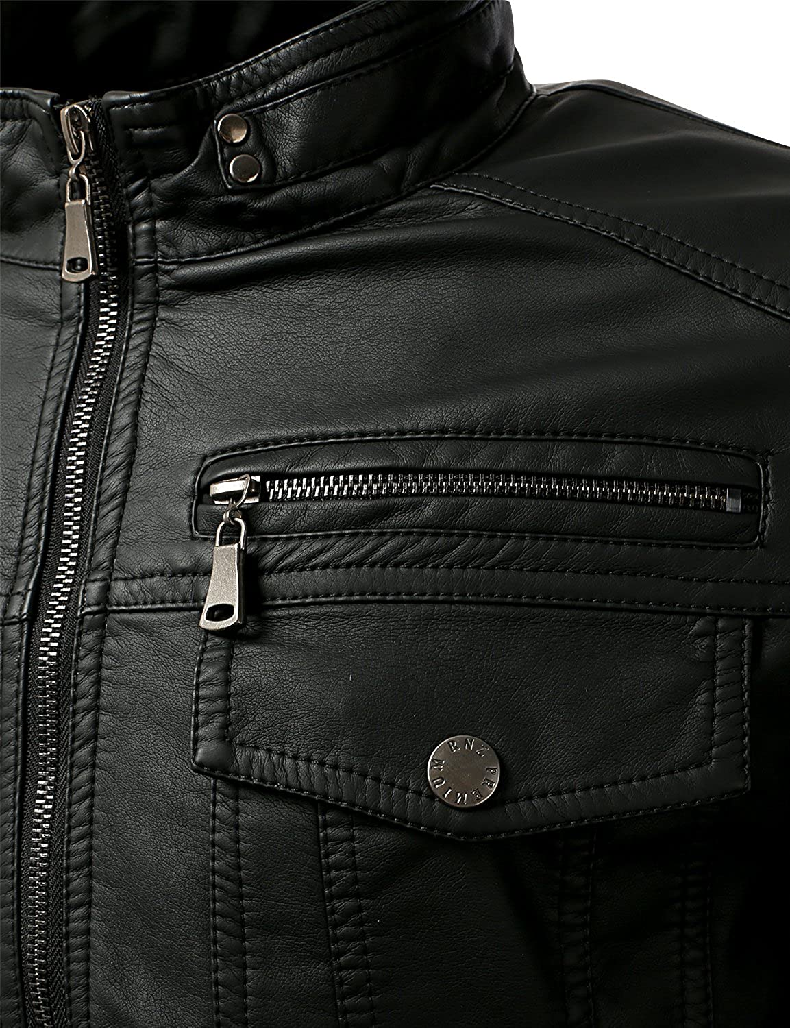Mens Long Sleeve Premium Stand Collar Zip Up Faux Leather Jacket Unbranded