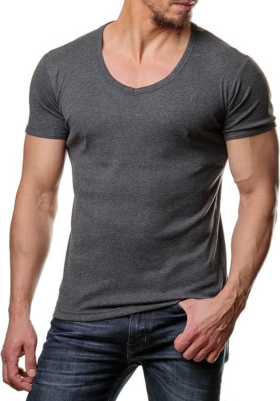Young /& Rich Herren Uni Basic T-Shirt mit Rundhals Ausschnitt einfarbig Round Neck Tee Stretch k/örperbetonte Dehnbare Passform
