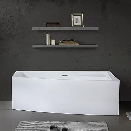 MAYKKE Encino 70u0026quot; Modern Rectanglar Acrylic Bathtub | Unique Corner  Rim For Storage, Freestanding