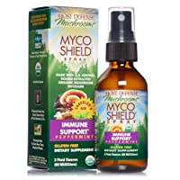 Host Defense, MycoShield Peppermint Spray, Immune Support, Mushroom Supplement with Turkey Tail, Reishi and Chaga, Vegan, Organic, 2 oz (142 Servings)