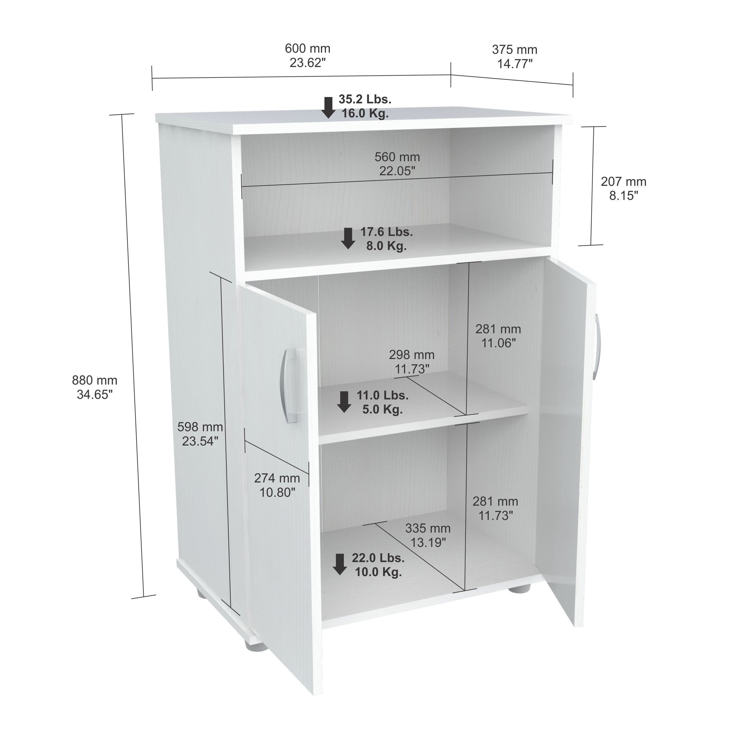 Kitchen Storage Cabinet Off-White (MM-0207). Top Shelf Space for Microwave Oven. 32.87 in High x 23.62 in Wide x 14.96 in Deep - Assembly Required
