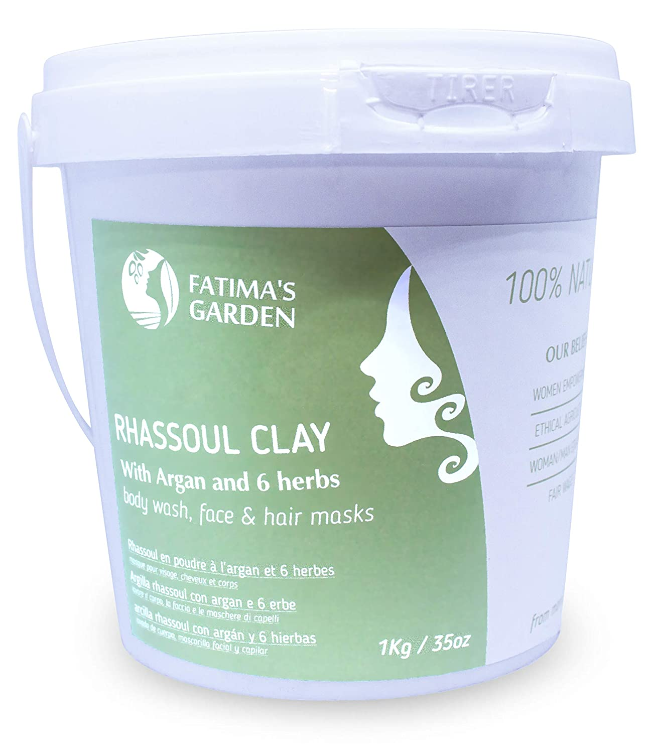 Rhassoul Clay by Fatima's Garden, 100% Natural Moroccan Ghassoul Clay for Face, Hair & Hammam; enriched with Argan and 6 herbs, cleansing & softening properties, Purify skin/hair - 5oz/1kgr