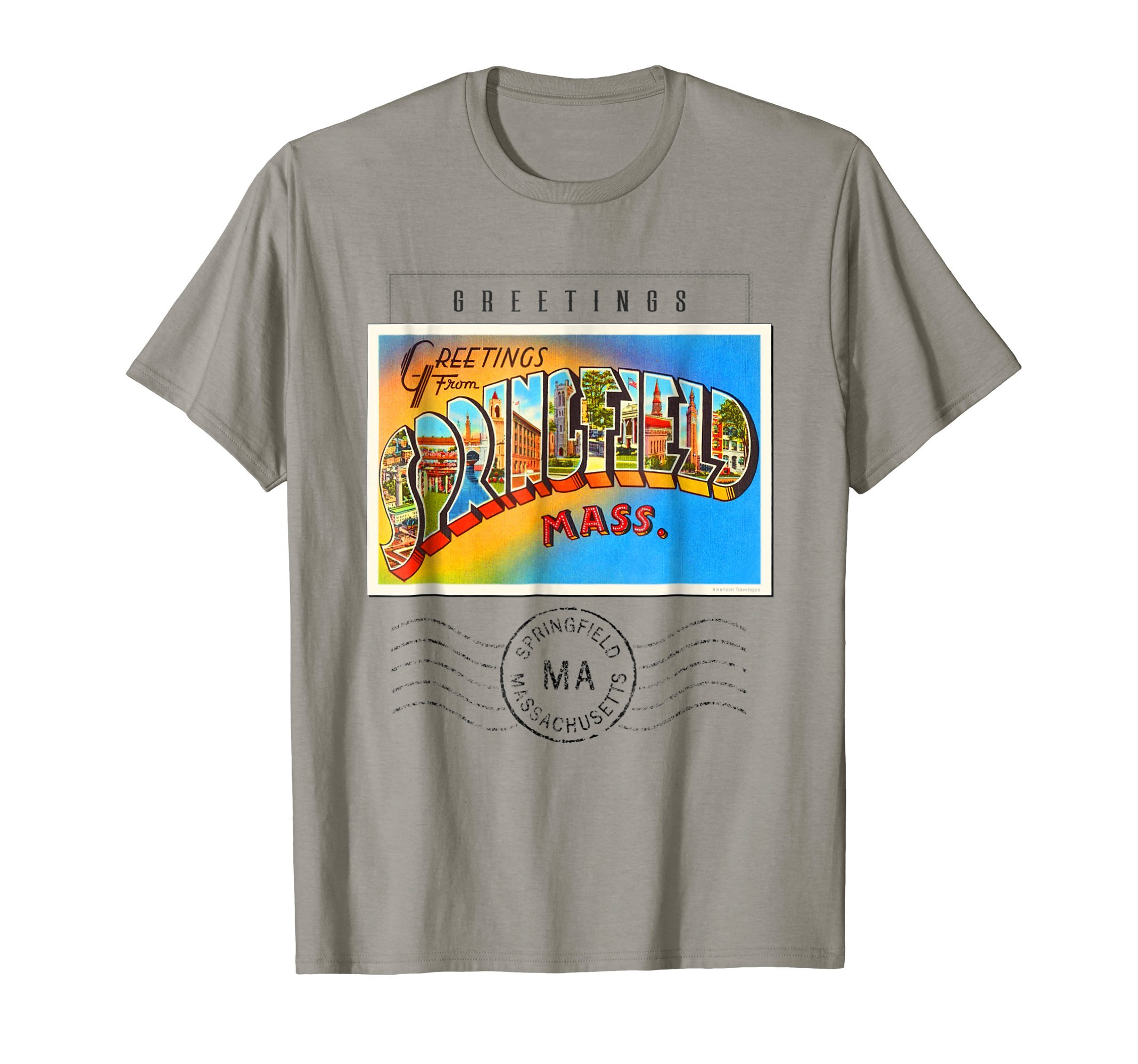 Springfield Postcard T Shirt Massachusetts MA Travel Gift