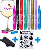 ORIGINAL Glass Artist Wine Glass Markers - Pack of 8 + Holidays Stencil, Premium Metallic Drink Markers , Wine Glass Charms, Erasable and Safe - Wine Accessories Gift