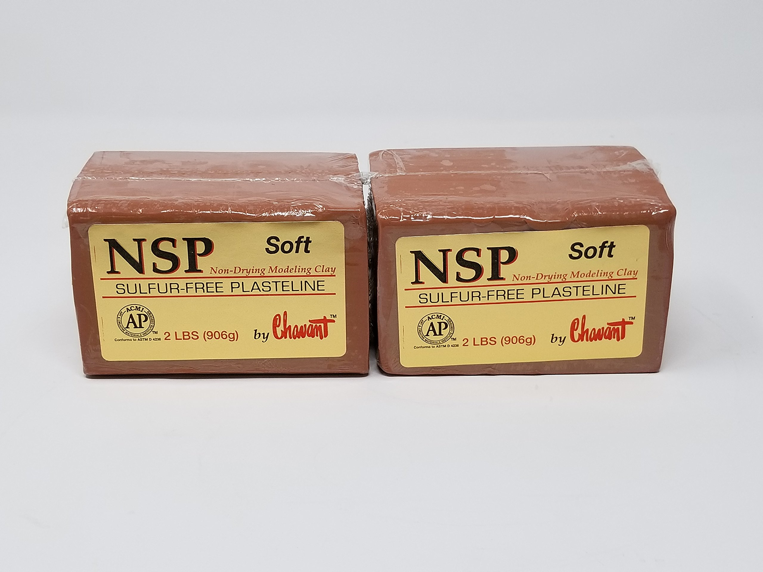 Chavant NSP SOFT 4 Lbs Oil Based Sulfur-Free Sculpting Clay (Brown)