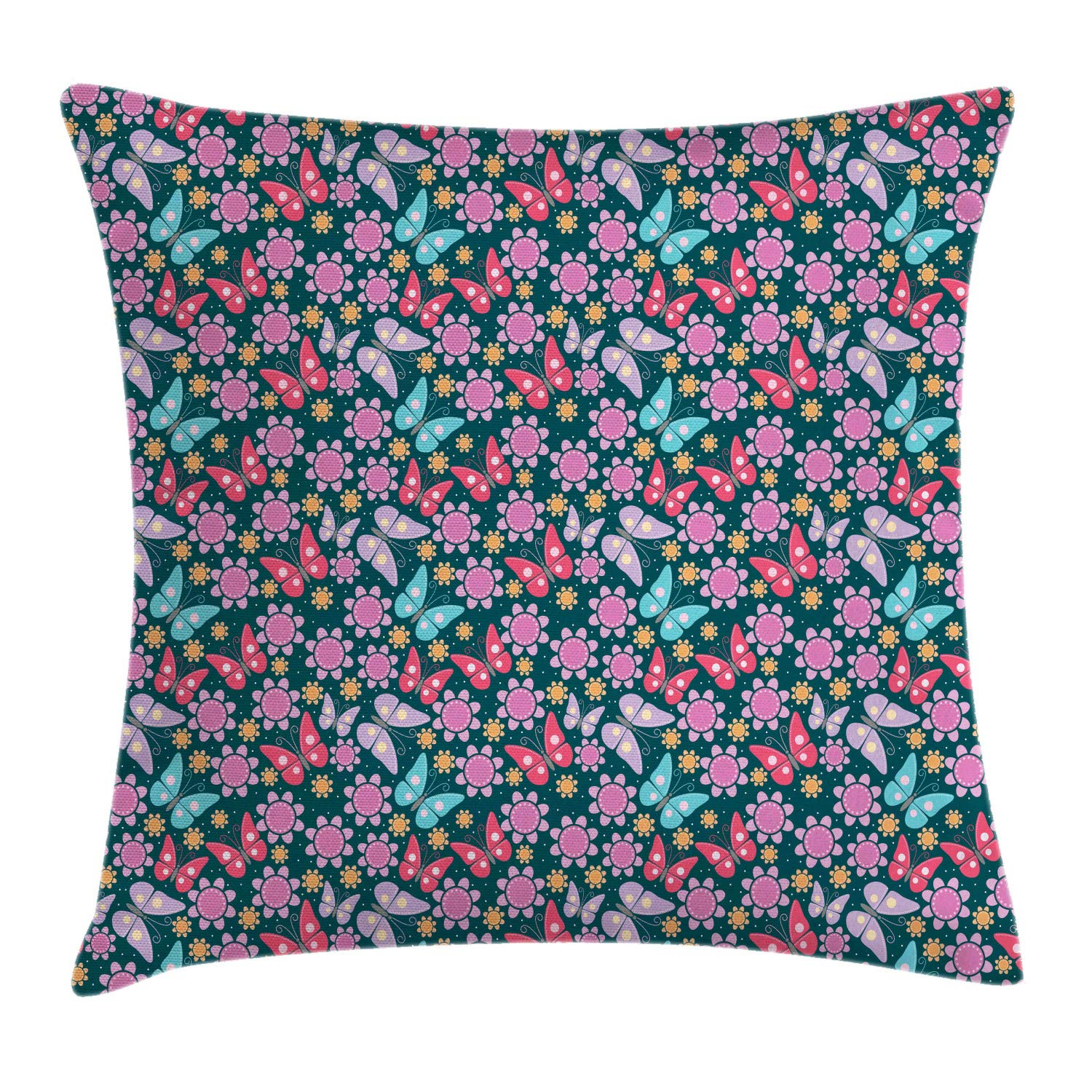 Lunarable Nursery Throw Pillow Cushion Cover, Happy Illustration with Flowers and Butterflies Colorful Spring Breeze Cartoon, Decorative Square Accent Pillow Case, 26'' X 26'', Multicolor by Lunarable