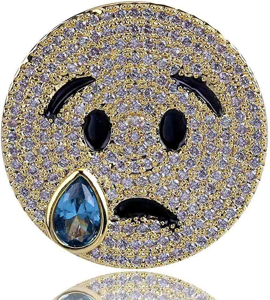 SHINY.U 14K Gold Plated Iced Out CZ Simulated Diamond Sapphire Crying Face with Tears of Joy Emoji Ring for Men Fashion Jewelry Gifts