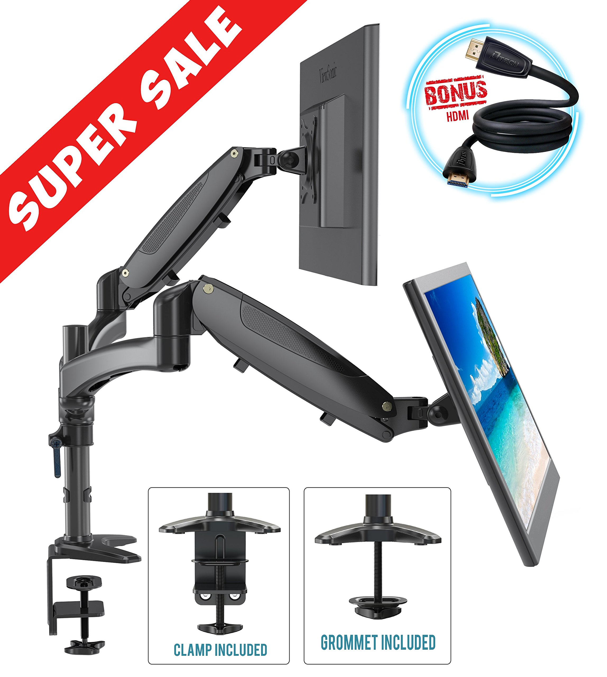 Dual Computer Monitor Stand Arm Mount Adjustable Monitors Mounts Riser C Clamp Grommet Kit HDMI Cable Management Standing Desk Converter VESA LED LCD Gas Springs Flat Screens Full Motion 15 To 27 inch