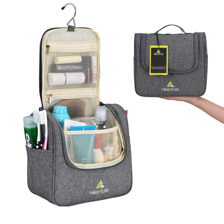 Travel Hanging Toiletry Bag by Hikenture | Cosmetics, Makeup and Toiletries Organizer | Compact Bathroom Storage | TSA Friendly | Home, Gym, Airplane, Hotel, Car Use(Grey) by HIKENTURE