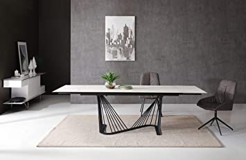 Amazon Com Whiteline Modern Living Roma Extendable Dining Table With White Ceramic Top And Matte Black Base 71 To 102 Tables