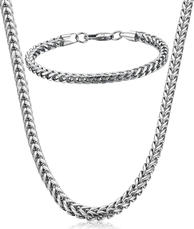 "FIBO STEEL Stainless Steel Wheat Chain Necklace for Men Women Necklace Bracelet Jewelry Set 5mm in Width, 22"" 8.5"""