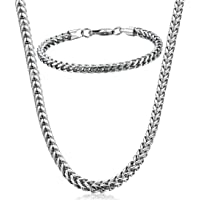 FIBO STEEL Stainless Steel Wheat Chain Necklace for Men Women Necklace Bracelet Jewelry Set 5mm in Width 22 8.5
