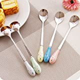 XDOBO Creative Mixed Colors Stainless Steel Coffee/ Tea/ Dessert Spoons, with Porcelain Long Handle, 6.3-Inch (5-pack)