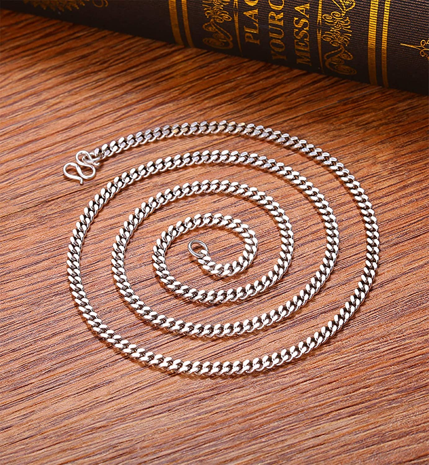 Epinki 925 Sterling Silver Curb Necklace Chain 4MM Necklace for Men 20-28 Inch